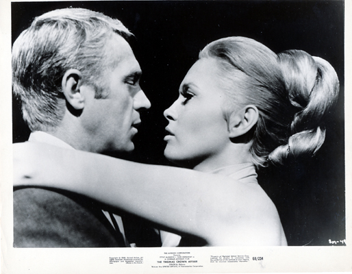 Pictured is a US promotional black-and-white still for the 1968 Norman Jewison film The Thomas Crown Affair starring Steve McQueen and Faye Dunaway.
