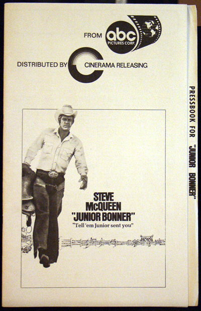 Pictured is a US pressbook for the 1972 Sam Peckinpah film Junior Bonner starring Steve McQueen.