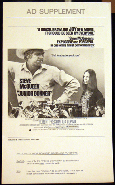 Pictured is a US ad supplement for the 1972 Sam Peckinpah film Junior Bonner starring Steve McQueen.