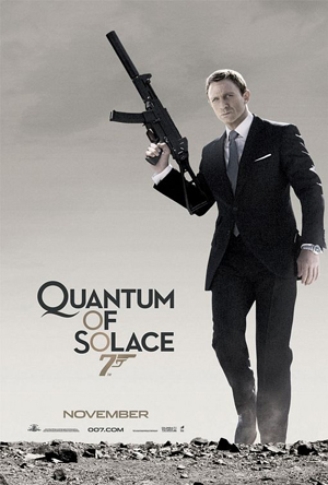 Pictured is the style B US advance promotional one-sheet poster for the 2008 Mark Forster film Quantum of Solace starring Daniel Craig.