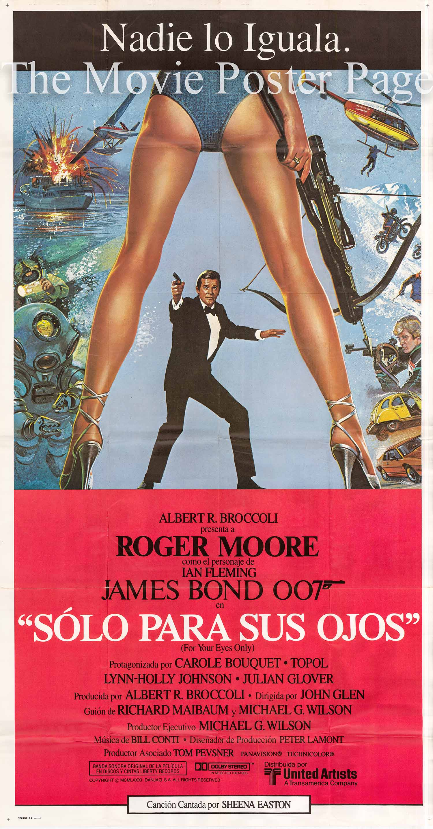 Pictured is an 41x74 Spanish three-sheet poster for the 1981 John Glen film For Your Eyes Only starrging Roger Moore as James Bond.