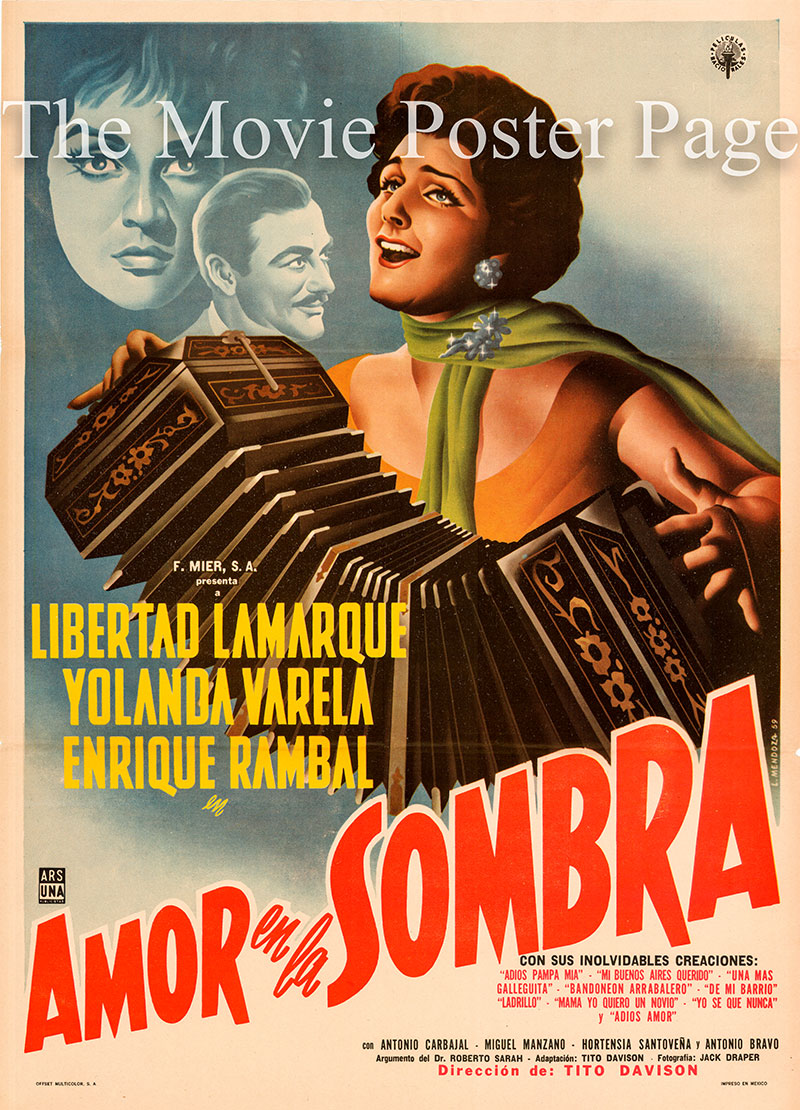 This is a Mexican one-sheet poster for the 1960 Tito Davison film Love in the Shadow starring Libertad Lamarque.