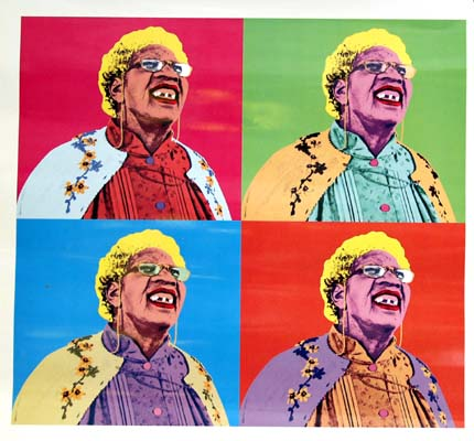 Pictured is a large glossy promotional still photo for the 2000 Peter Segal film The Nutty Professor:  The Klumps, starring Eddie Murphy; the still is a spoof design that imitates the style of a 1967 Andy Warhol Marilyn Monroe silkscreen print.