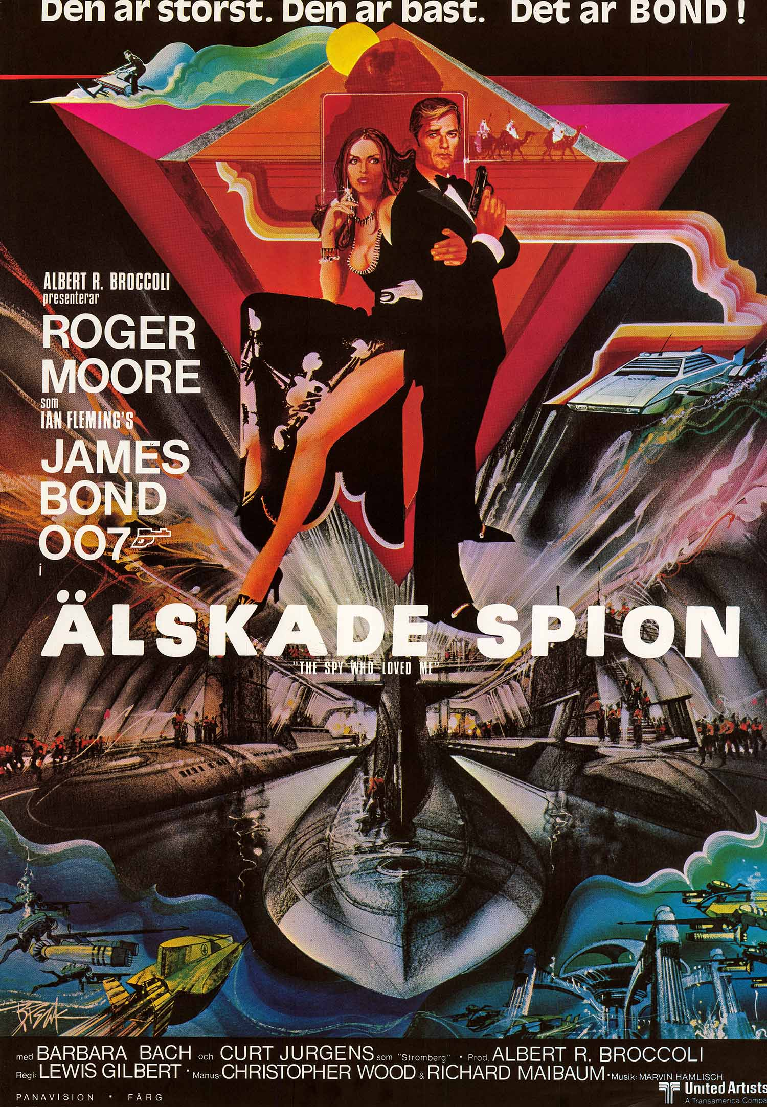 Pictured is a Swedish one-sheet poster made to promote the 1977 Lewis Gilbert film The Spy Who Loved Me starring Roger Moore as James Bond.