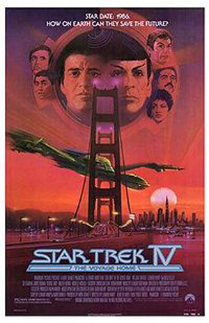 Pictured is a US promotional poster for the 1986 Leonard Nimoy film Star Trek IV: The Voyage Home, starring William Shatner.