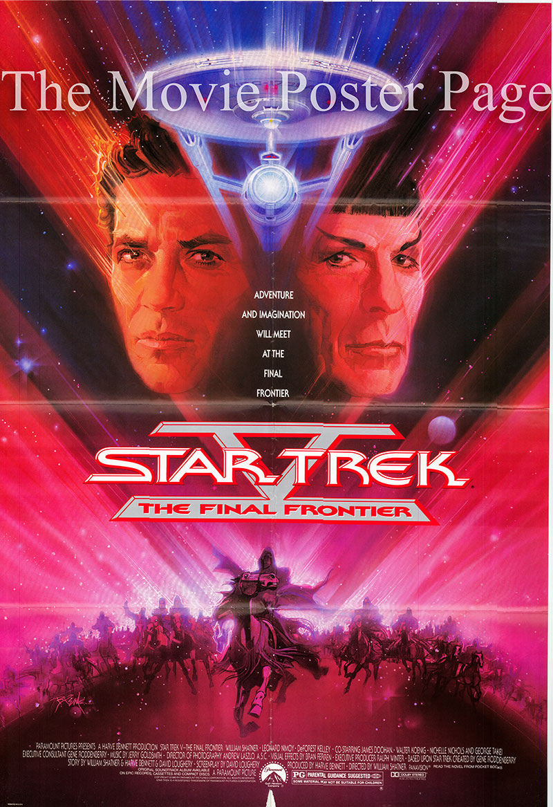 Pictured is a US one-sheet poster for the 1989 William Shatner film Star Trek V: The Final Frontier, starring Leonard Nimoy as Spock.