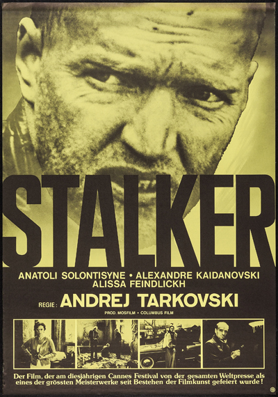 Pictured is a German one-sheet promotional poster for a 1981 rerelease of the 1979 Andrei Tarkovski  film Stalker starring Aleksandr Kaydanovskly as the stalker based on a novel by Arkadly Strugatskly.