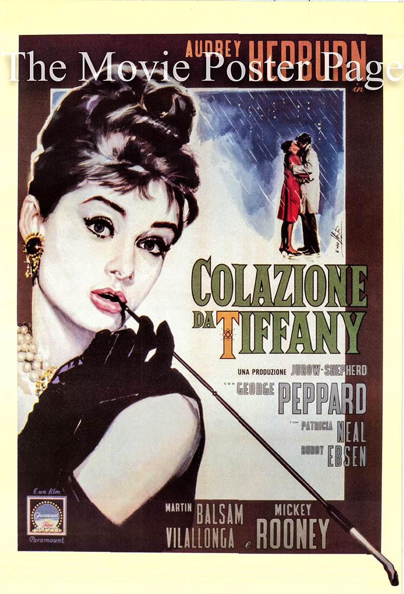 Pictured is an Italian reprint of a poster for the 1961 Blake Edwards film Breakfast at Tiffany's starring Audrey Hepburn as Holly Golightly.
