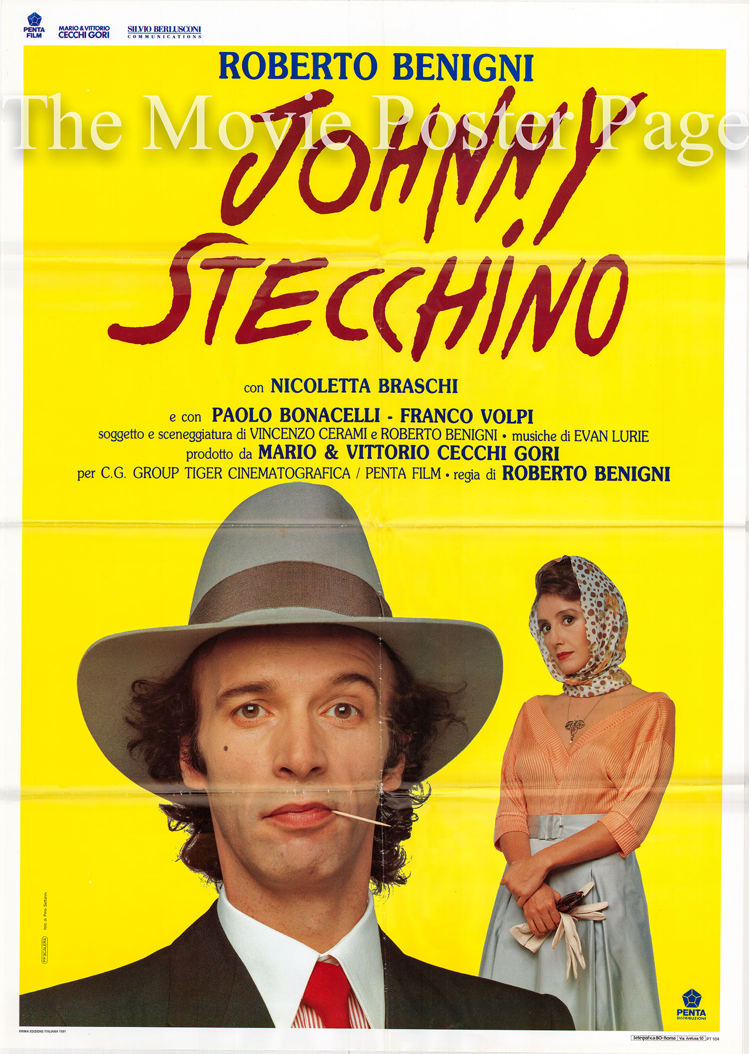 Pictured is an Italian two-sheet promotional poster for the 1992 Roberto Benigni film Johnny Stecchino based on a screenplay by Roberto Benigni and Vincenzo Cerami and starring Roberto Benigni as Johnny Stecchino.