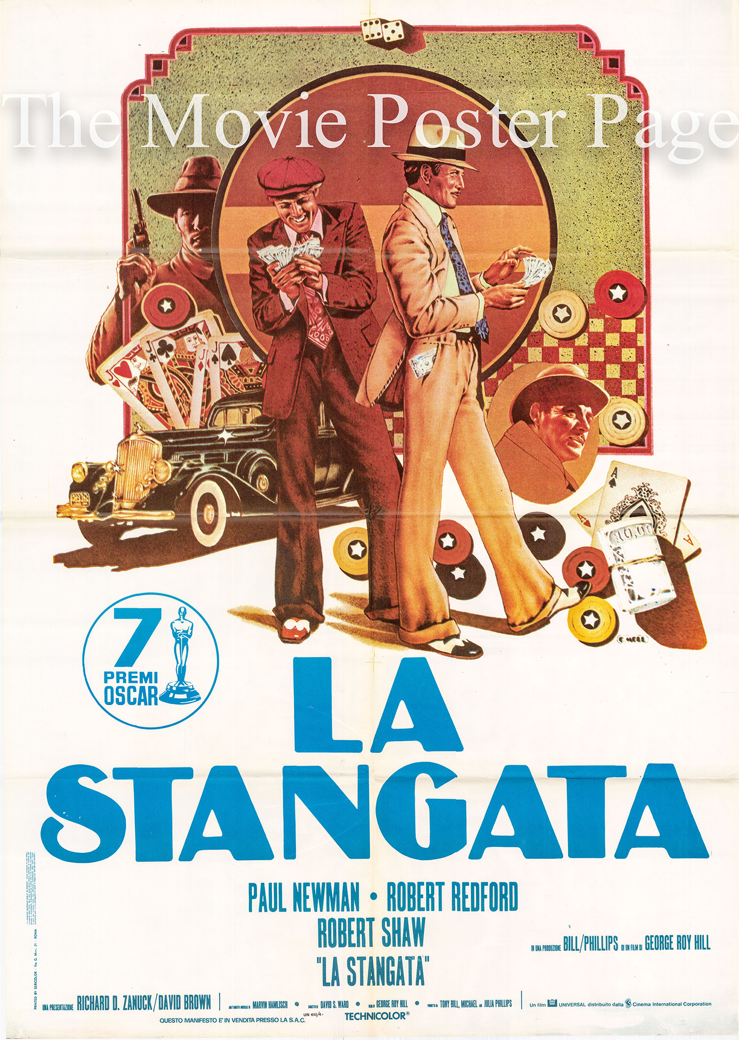 Pictured is an Italian two-sheet promotional poster for the 1975 George Roy Hill film <i>The Sting</i> starring Paul Newman.