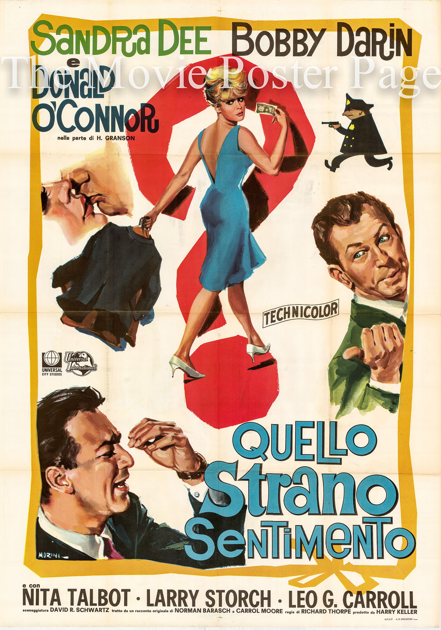 Pictured is an Italian two-sheet poster for the 1965 Richard Thorpe film <i>That Funny Feeling</i> starring Bobby Darin and Sandra Dee.