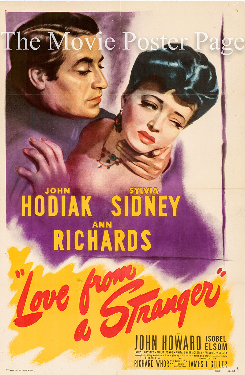 Pictured is a US one-sheet poster for the 1947 Richard Whorf film Love from a Stranger starring John Hodiak.
