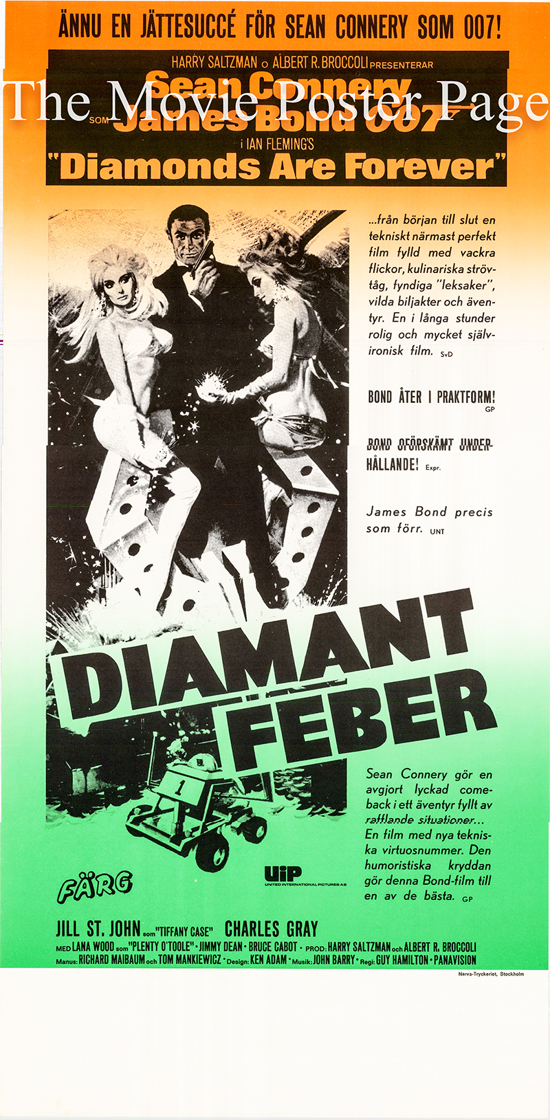 Pictured is a Swedish insert poster for a 1980s rerelease of the 1971 Guy Hamilton film Diamonds are Forever starring Sean Connery as James Bond.