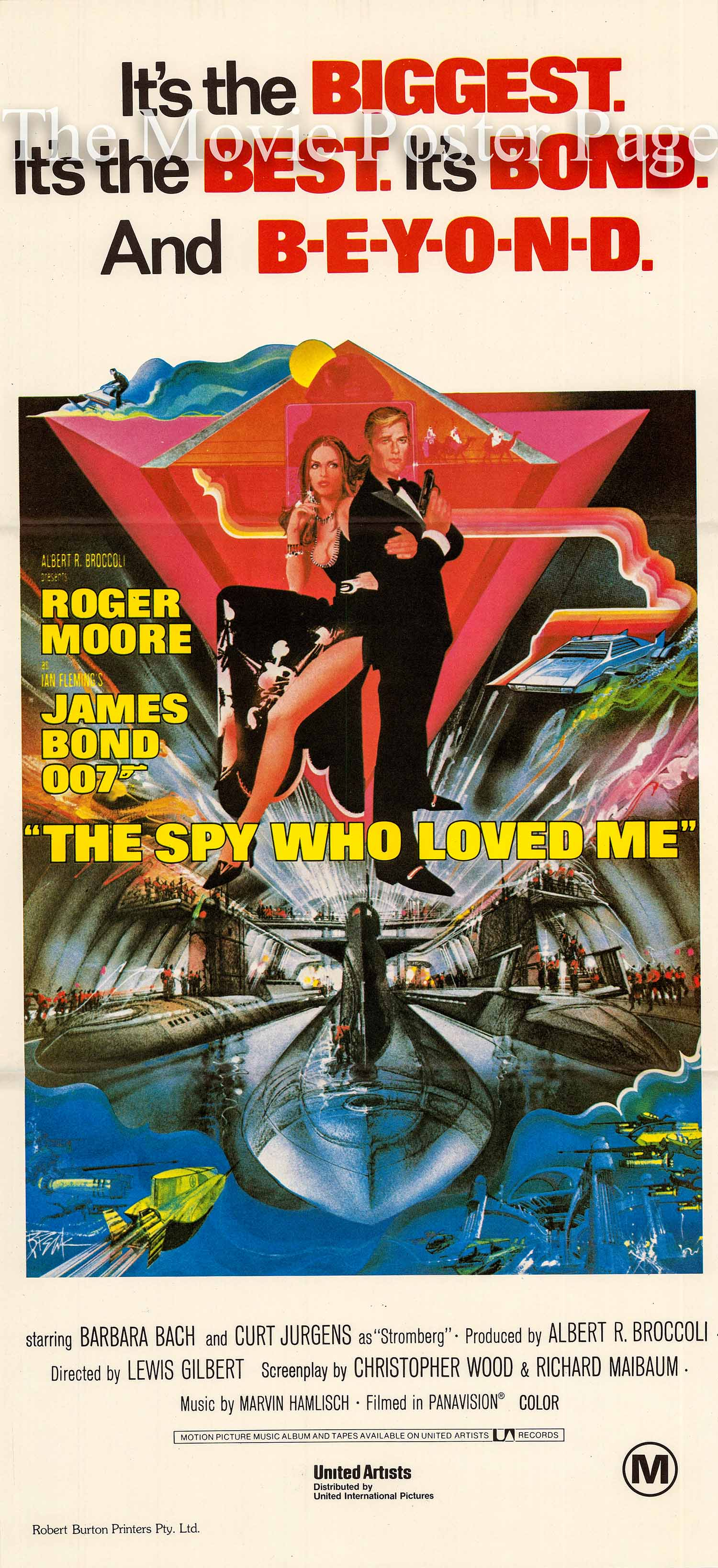 Pictured is an Australian day bill made to promote the 1977 Lewis Gilbert film The Spy Who Loved Me starring Roger Moore as James Bond.