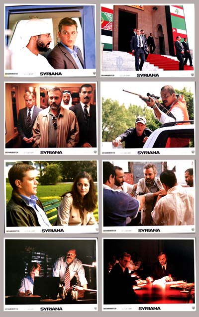 Pictured is a US promotional lobby card set for the 2005 Stephen Gaghan film Syriana starring George Clooney.