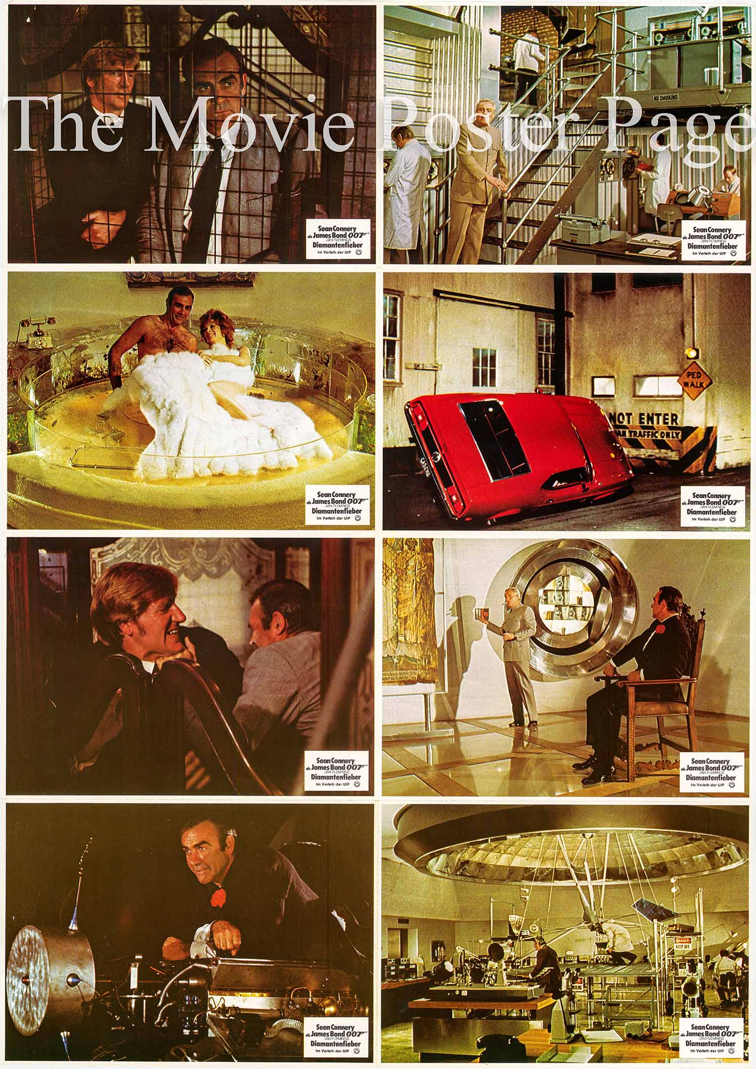 Pictured is a German perforated lobby sheet for a 1980s rerelease of the 1971 Guy Hamilton film Diamonds are Forever starring Sean Connery as James Bond.