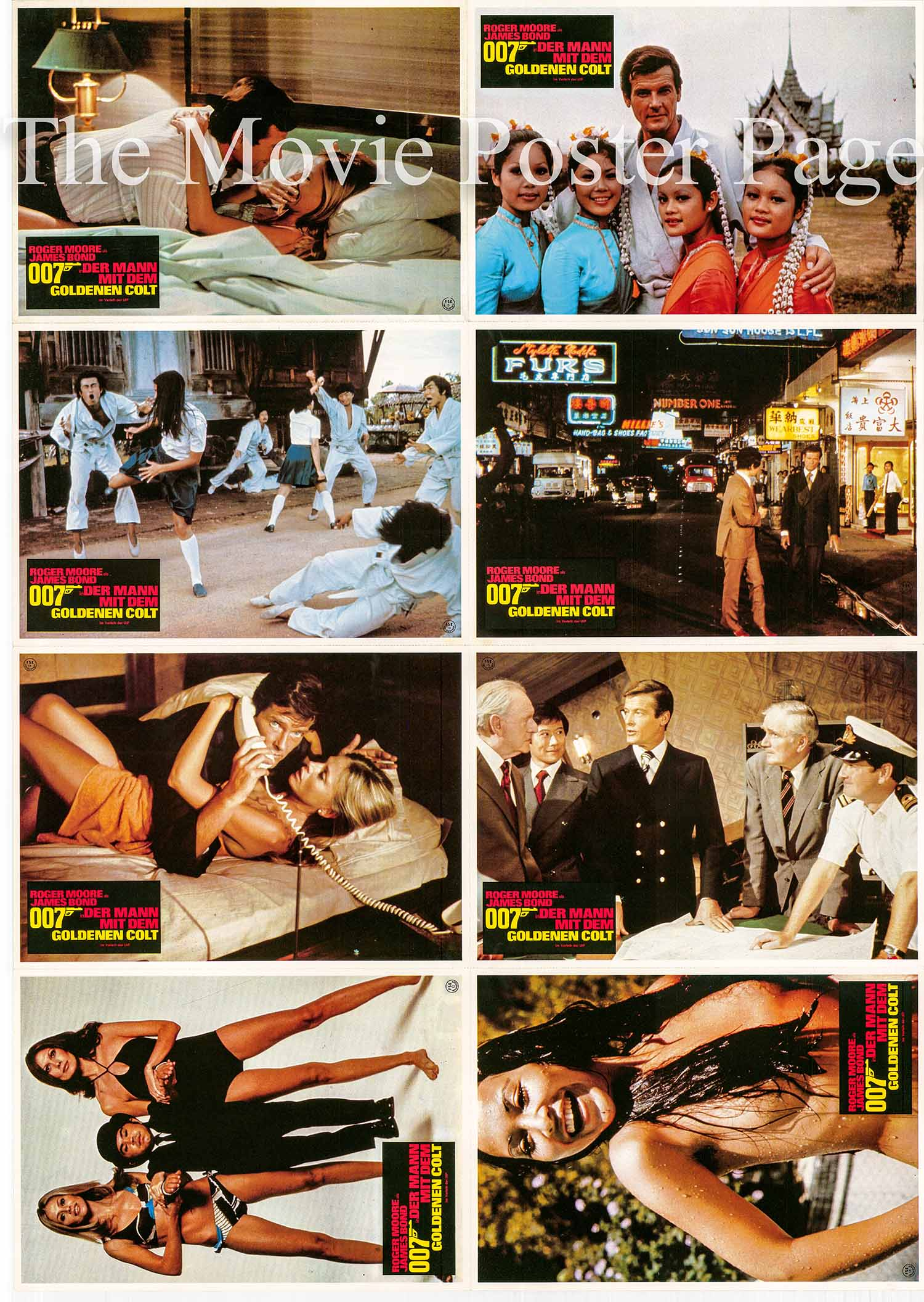 Pictured is a sheet of perforated paper lobby cards made to promote a 1980s rerelease of the 1974 Guy Hamilton film The Man with the Golden Gun starring Roger Moore as James Bond.