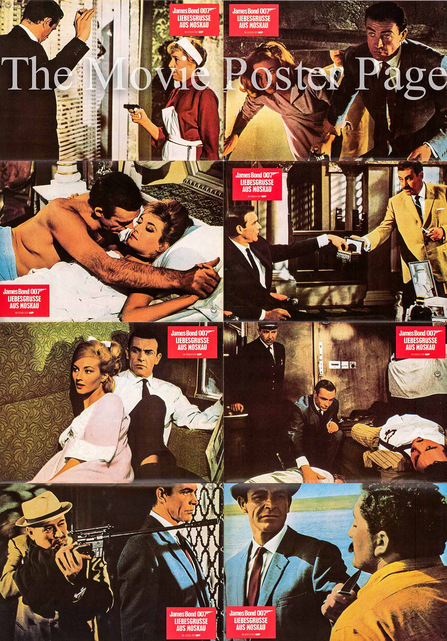 Pictured is a German perforated lobby card sheet printed in the 1980s to promote a rerelease of the 1963 Terence Young film From Russia with Love starring Sean Connery as James Bond.