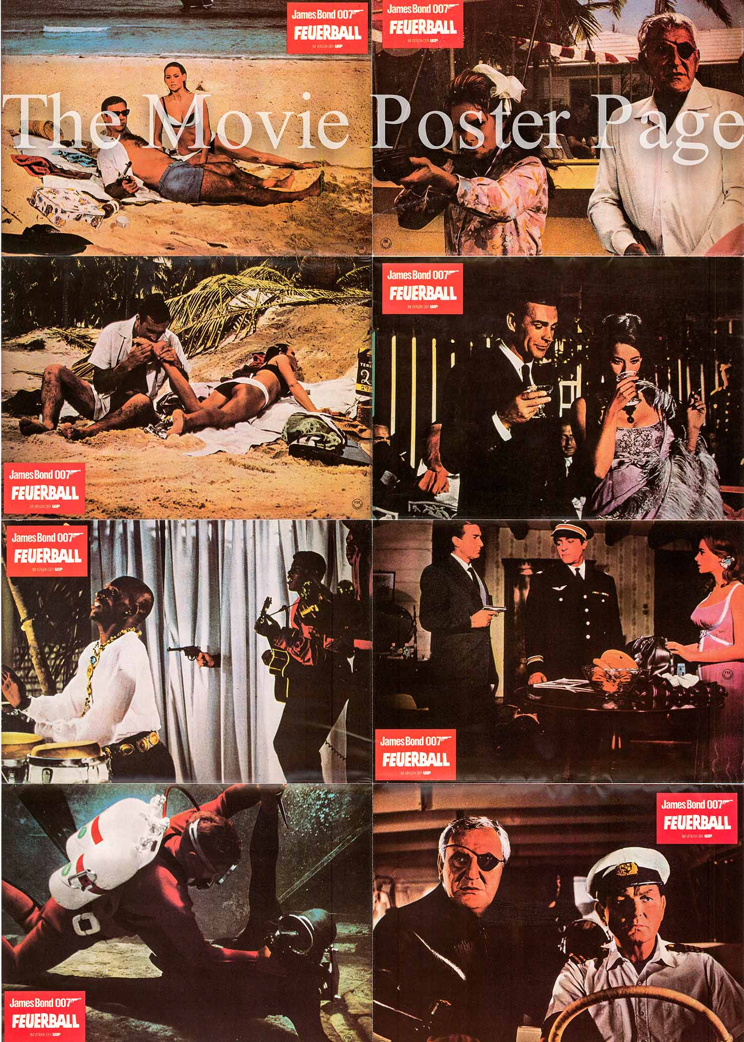 Pictured is a German perforated lobby sheet printed in the 1980s to promote a rerelease of the 1965 Terence Young film Thunderball starring Sean Connery as James Bond.