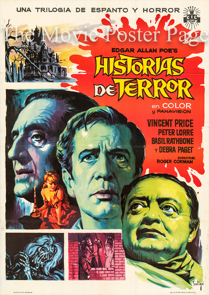 Pictured is a Spanish one-sheet poster for the 1962 Roger Corman filkm Tales of Terror starring Vincent Price.