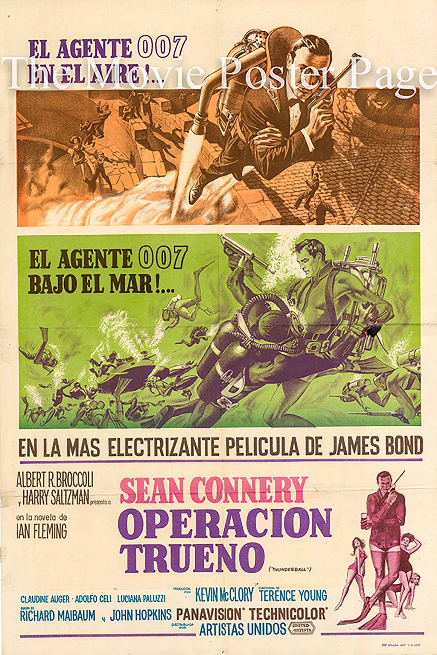 Pictured is an A rgentine promotional poster for the 1965 Terence Young film Thunderball starring Sean Connery as James Bond.