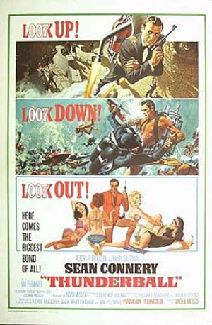 Pictured is a reprint of the US one-sheet promotional poster for the 1965 Terence Young Film Thunderball starring Sean Connery.