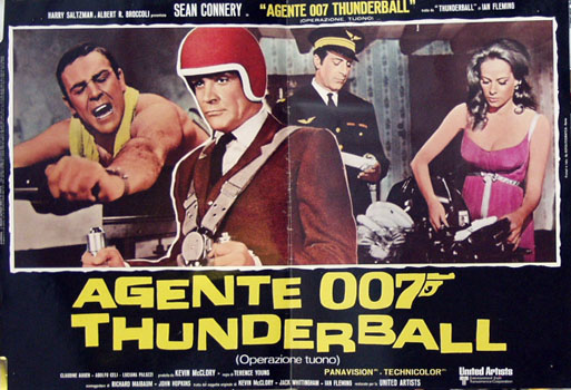 This image shows an Italian 1971 rerelease promotional photobusta for the 1965 Terence Young James Bond film Thunderball, starring Sean Connery.