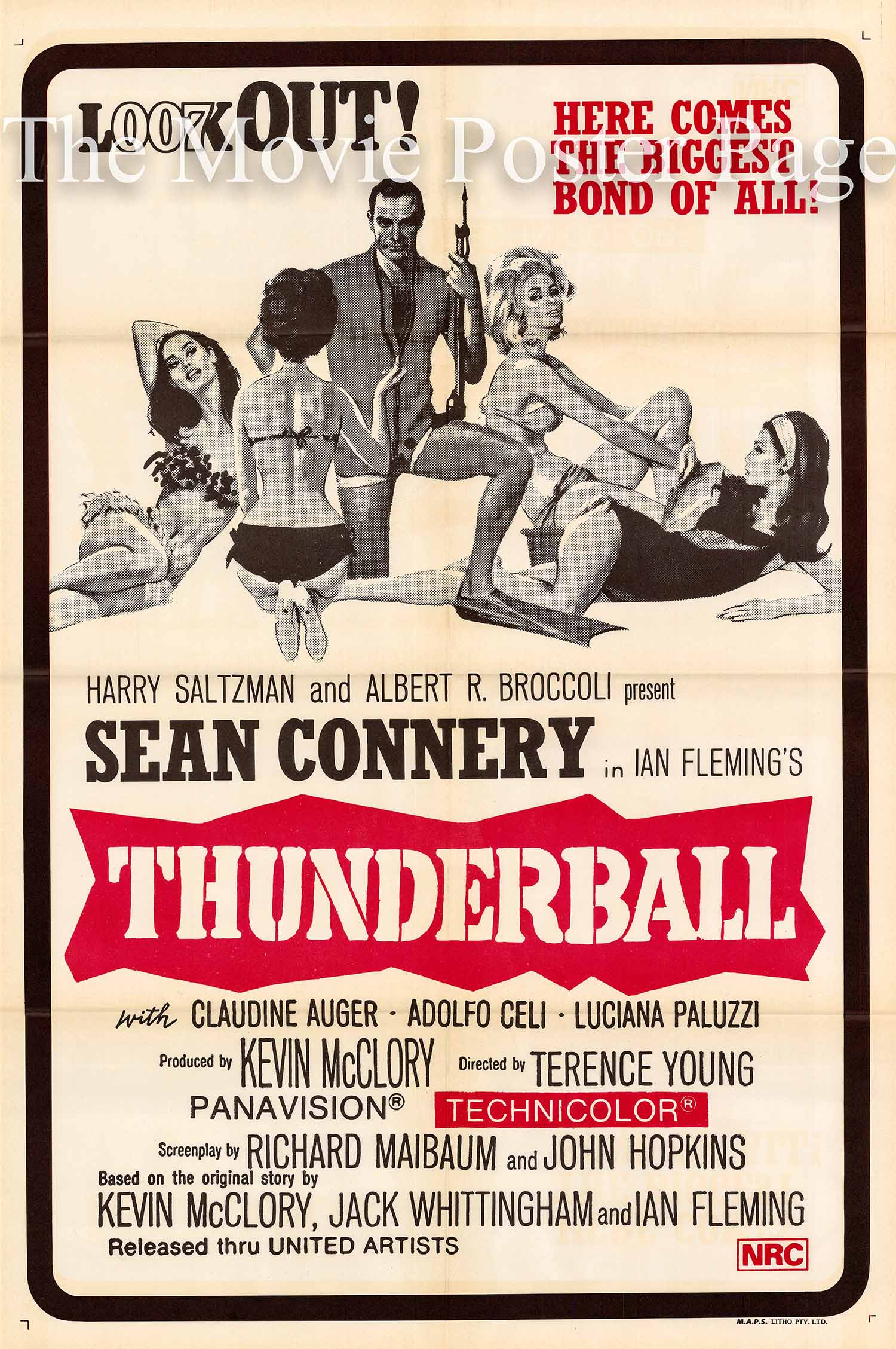 Pictured is an Australian duotone one-sheet printed in the early 1970s to promote a rerelase of the 1965 Terence Young film Thunderball starring Sean Connery as James Bond.