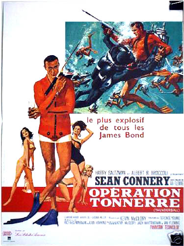 Pictured is a French 15x21 stone litho poster printed in the 1970s to promote a rerelease of the 1965 Terence Young film Thunderball starring Sean Connery as James Bond.