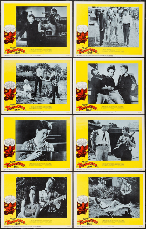 Pictured is a US promotional lobby card set for the 1966 Richard Brill film That Tennessee Beat starring Merle Travis.