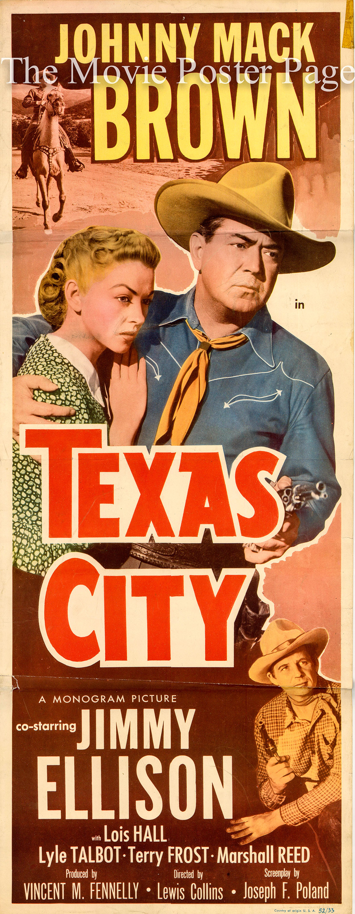Pictured is a US insert for the 1952 Lewis D. Collins film Texas City starring Johnny Mack Brown.