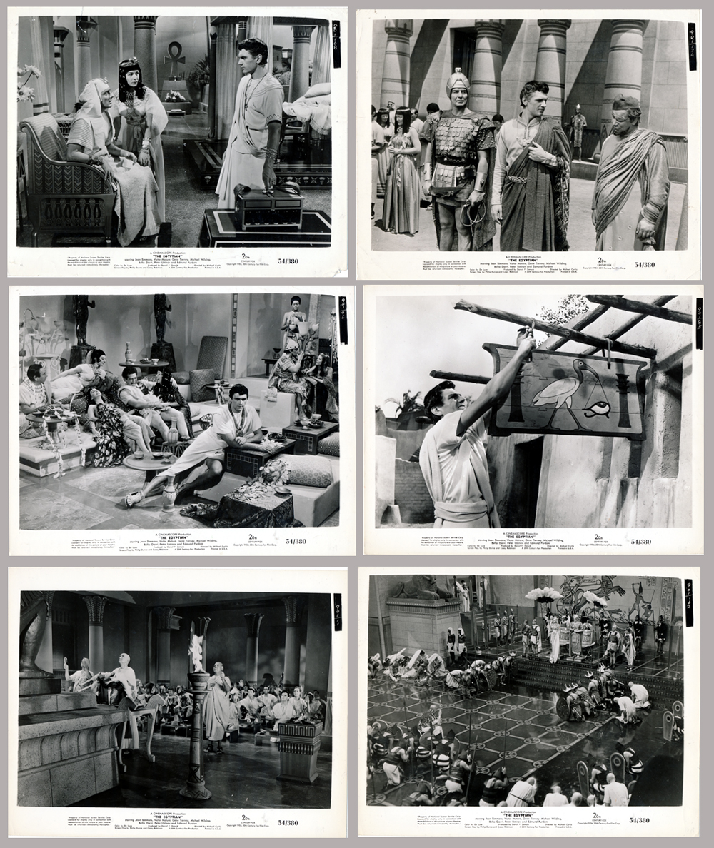 Pictured are six US promotional still photos from the 1954 Michael Curtiz film The Egyptian starring Victor Mature, Jean Simmons and Gene Tierney.
