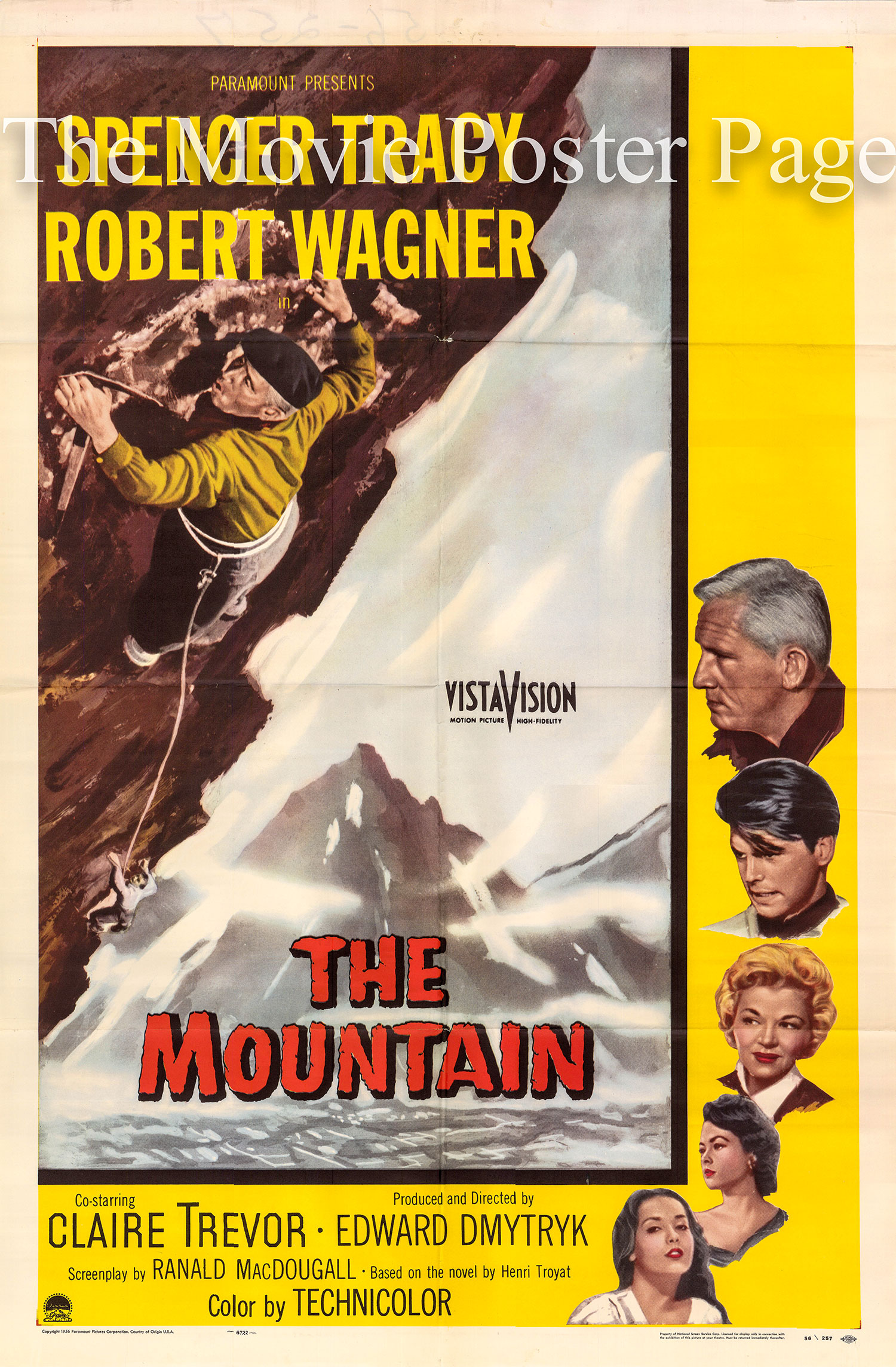 Pictured is a US one-sheet promotional poster for the 1956 Edward Dmytryk film The Mountain starring Spencer Tracy and Robert Wagner.