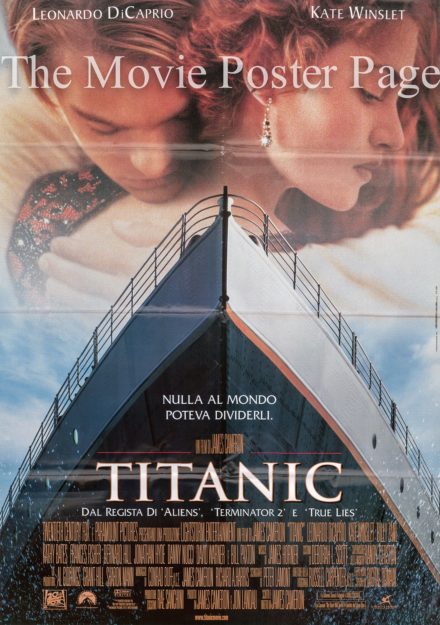 Pictured is an Italian two-sheet promotional poster for the 1997 James Cameron film Titanic starring Leonardo DiCaprio.