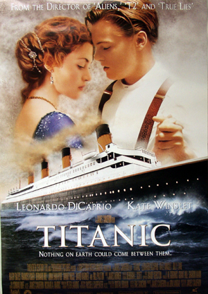 Pictured is a US withdrawn one-sheet poster for the 1997 James Cameron film Titanic starring Leonardo DiCaprio as Jack Dawson.