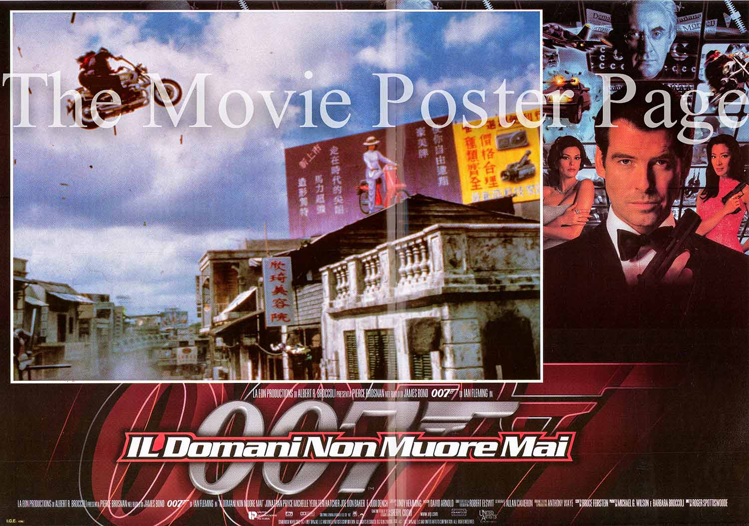 Pictured is an Italian promotional fotobusta for the 1997 Roger Spottiswoode film Tomorrow Never Dies based on a story by Bruce Fierstein and starring Pierce Brosnan as James Bond.