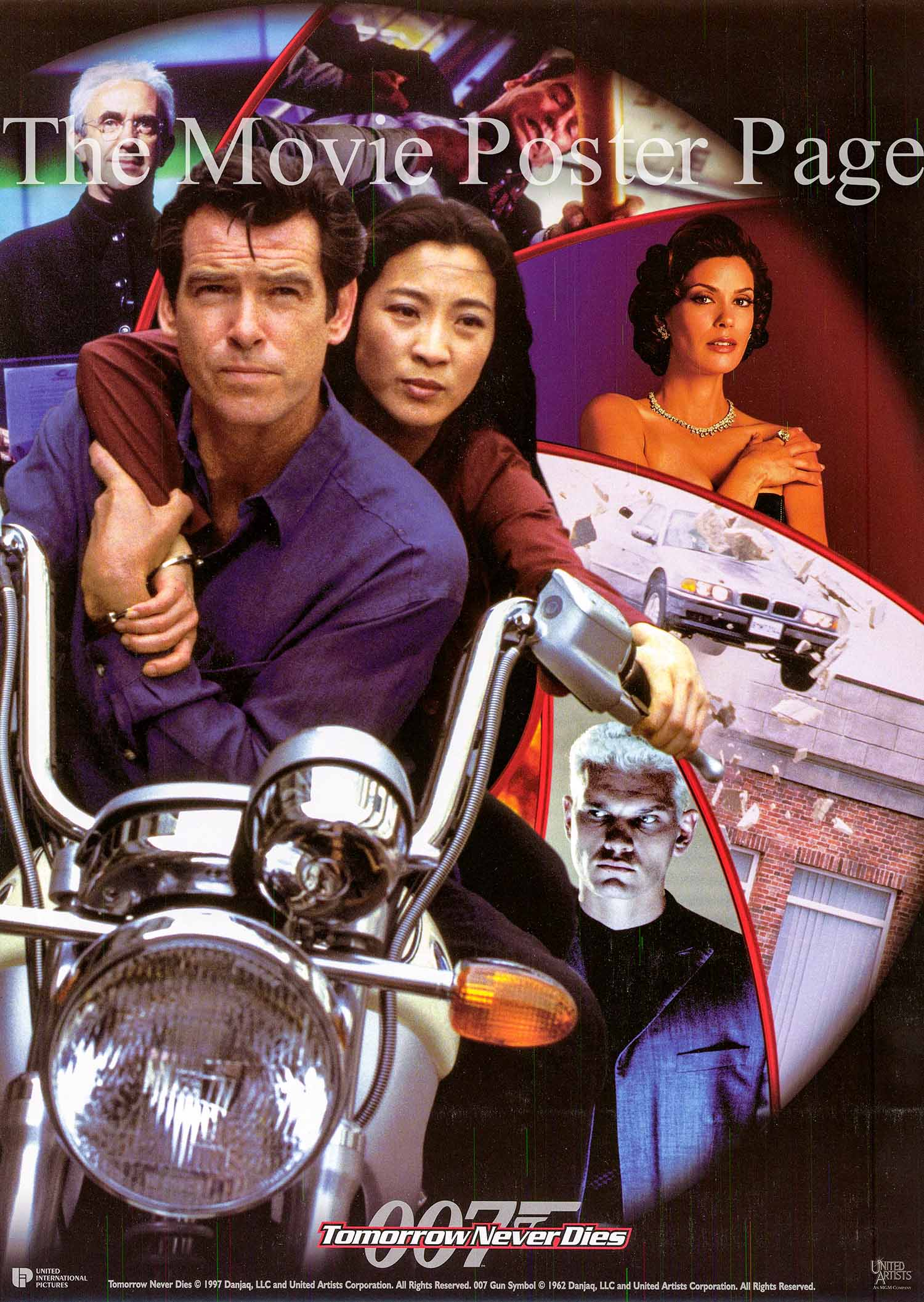 Pictured is a UK mini promotional poster for the 1997 Roger Spotiswoode film Tomorrow Never Dies starring Pierce Brosnan as James Bond.