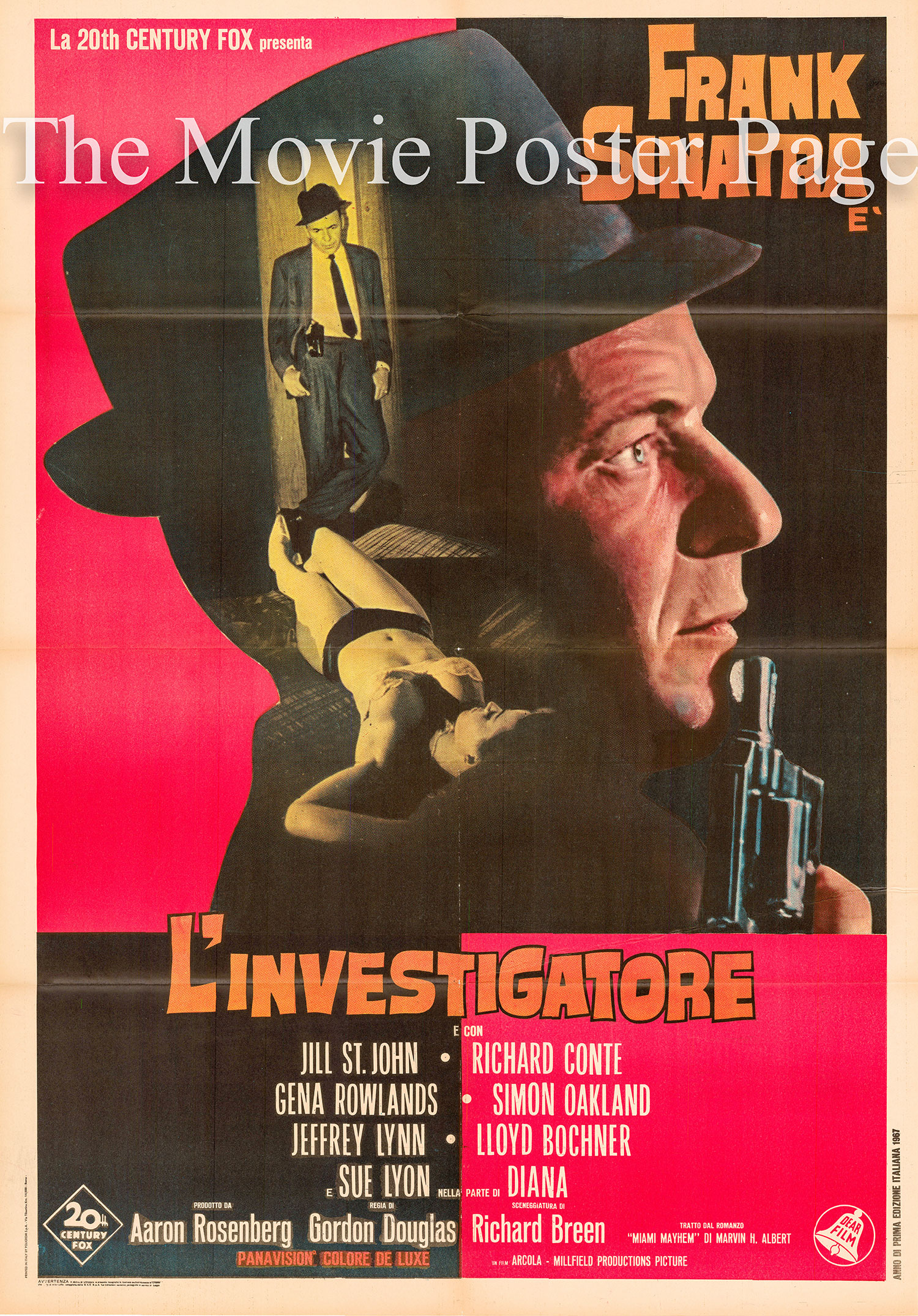Pictured is an Italian two-sheet poster for the 1967 Gordon Douglas film <i>Tony Rome</i> starring Frank Sinatra.