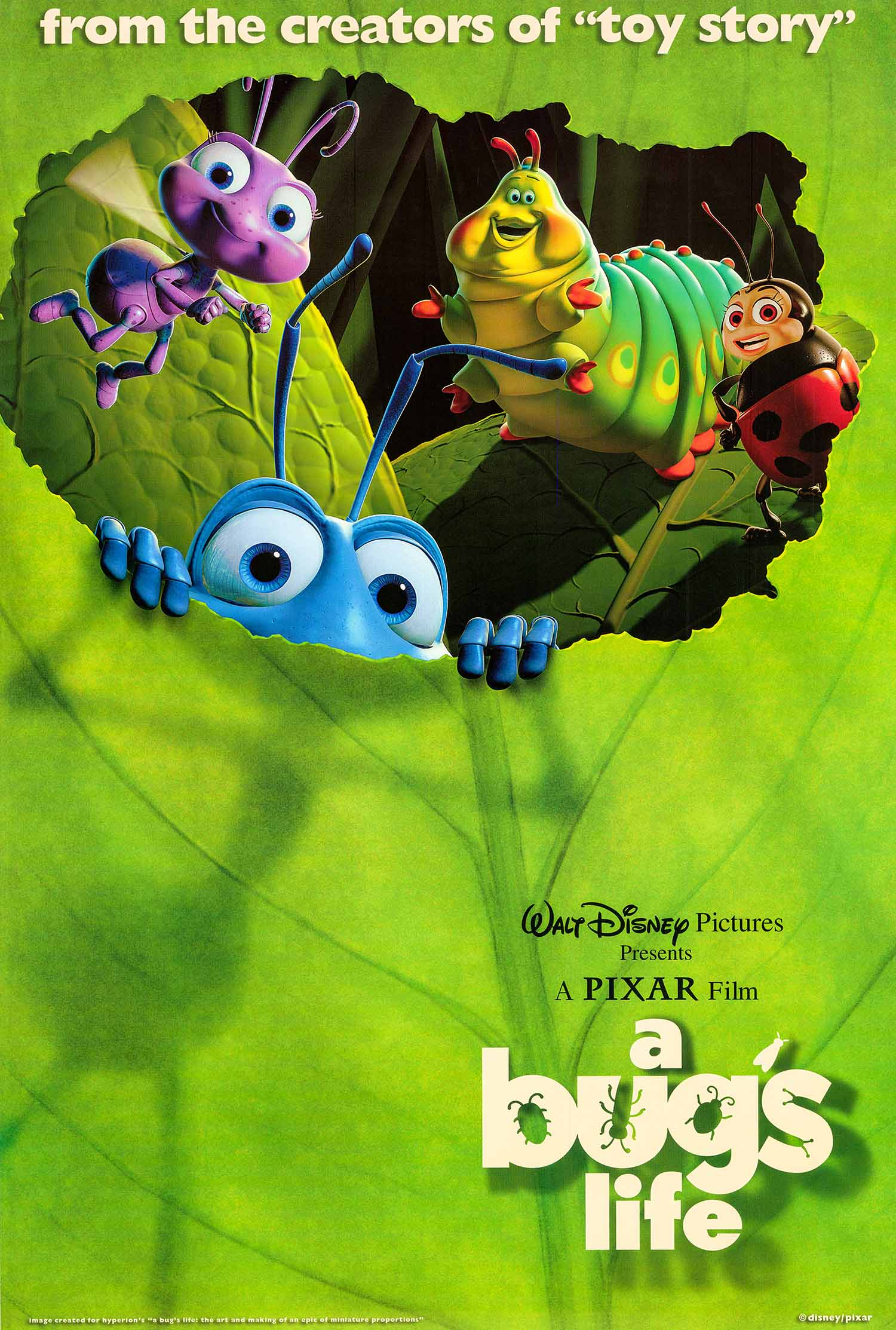 Pictured is an international style B promotional poster for the 1998 John Lasseter and Andrew Stanton film A Bug's Life starring Kevin Spacey as the voice of the Hopper.