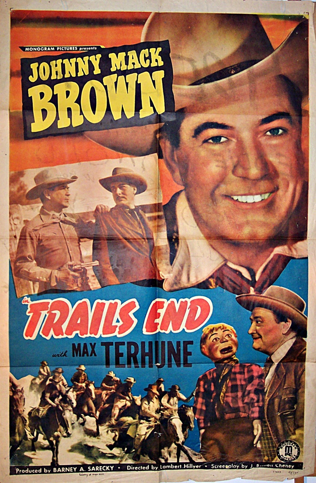Pictured is a US one-sheet promotional poster for the 1949 Lambert Hillyer film Trails End starring Johnny Mack Brown.