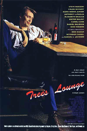 Pictured is a US promotional poster for the 1996 Steve Buscemi film Trees Lounge starring Steve Buscemi.