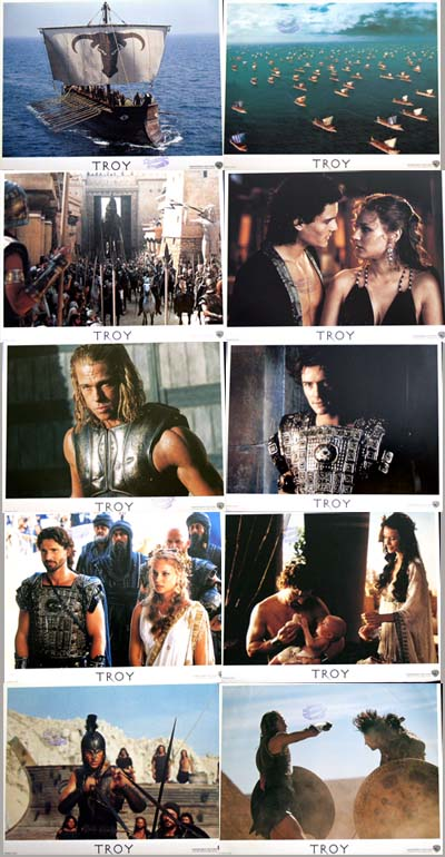 Pictured is a US promotional lobby card set for the 2004 Wolfgang Petersen film Troy starring Julian Glover and Brad Pitt.