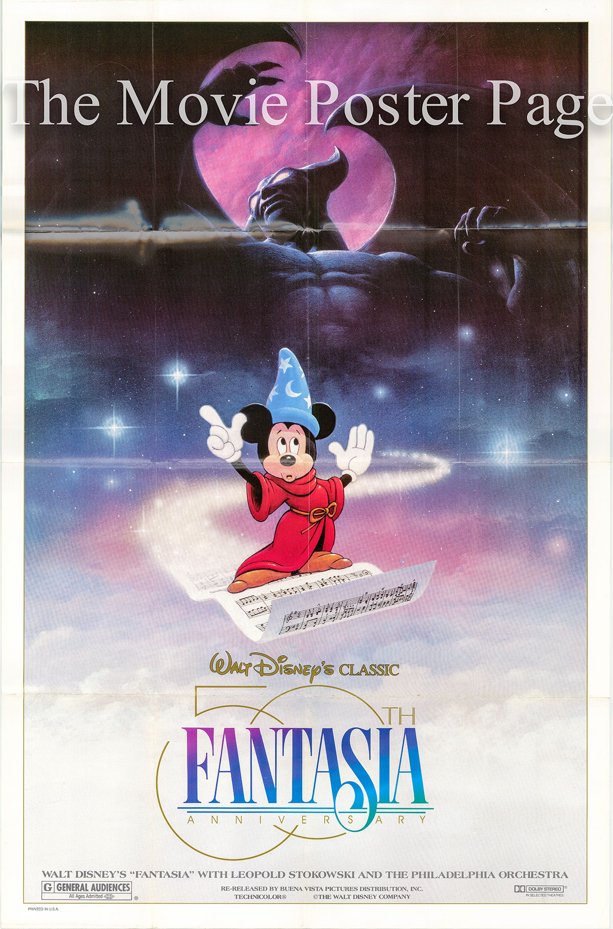 Pictured is a US promotional 50th Anniversary one-sheet poster for the 1990 rerelease of the 1940 James Algar and Samuel Armstrong film Fantasia.