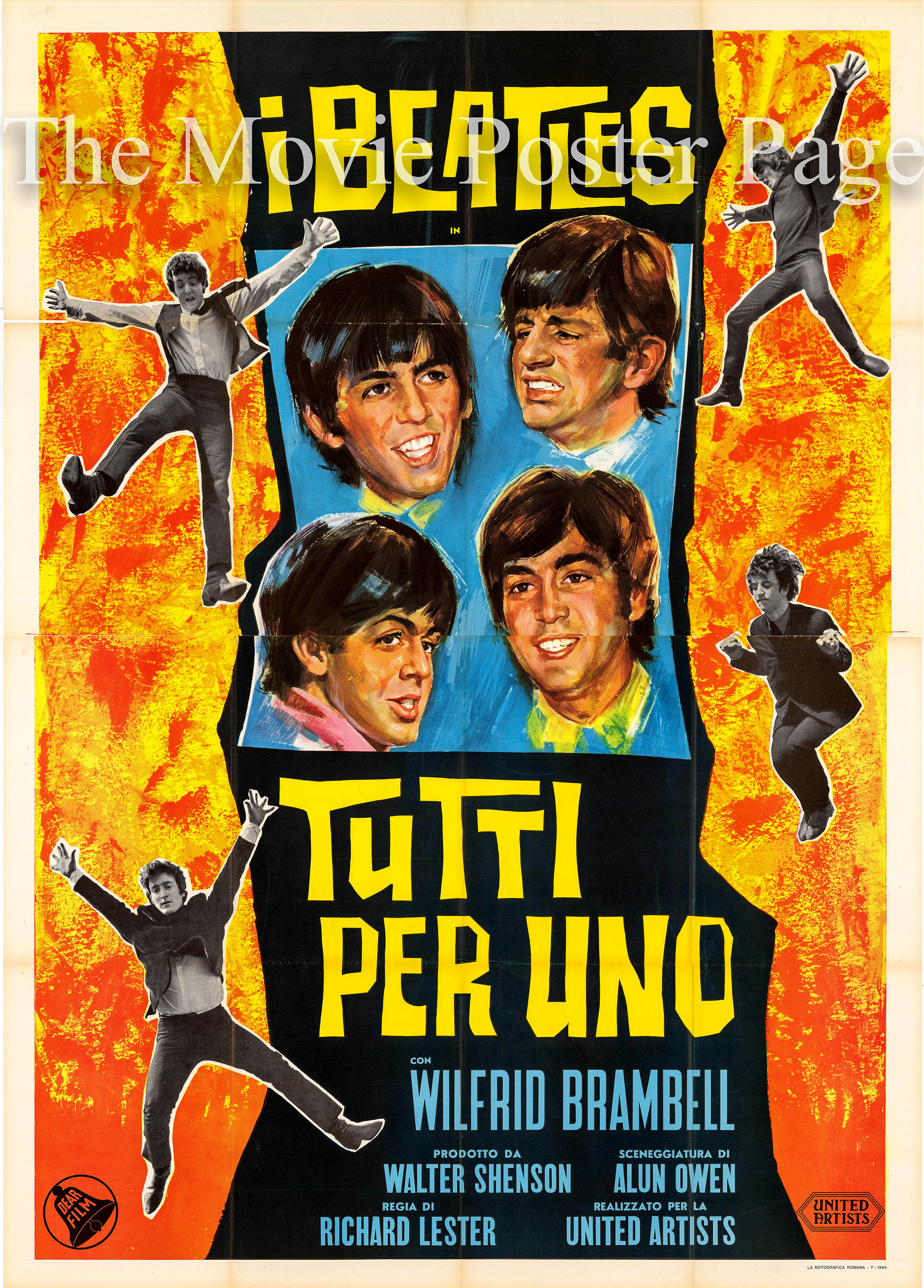 Pictured is an Italian four-sheet poster for the 1964 Richard Lester film <i>A Hard Day's Night</i> starring the Beatles.