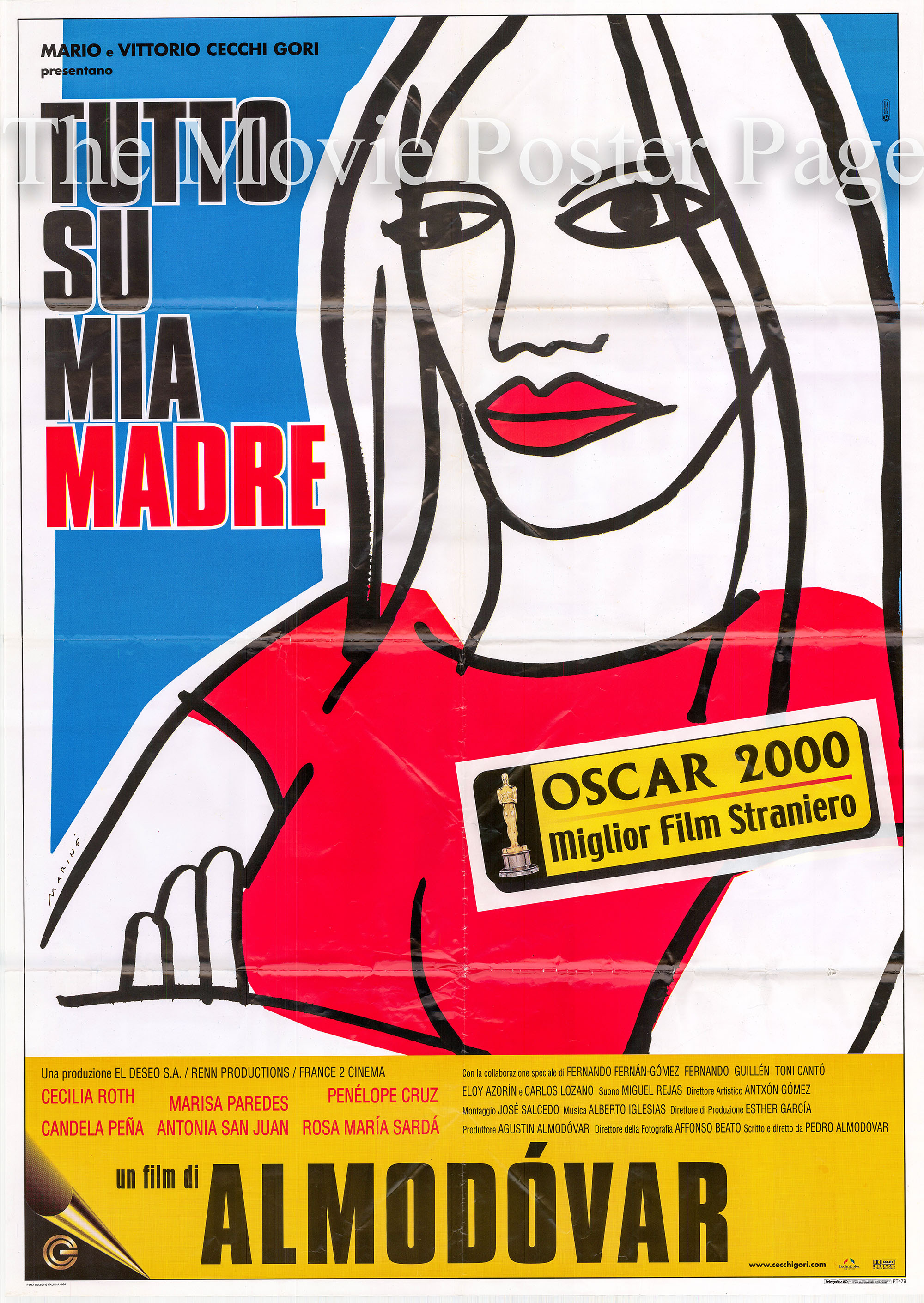 Pictured is an Italian two-sheet poster for the 1999 Pedro Almodovar film All About My Mother starring Cecilia Roth as Manuela.