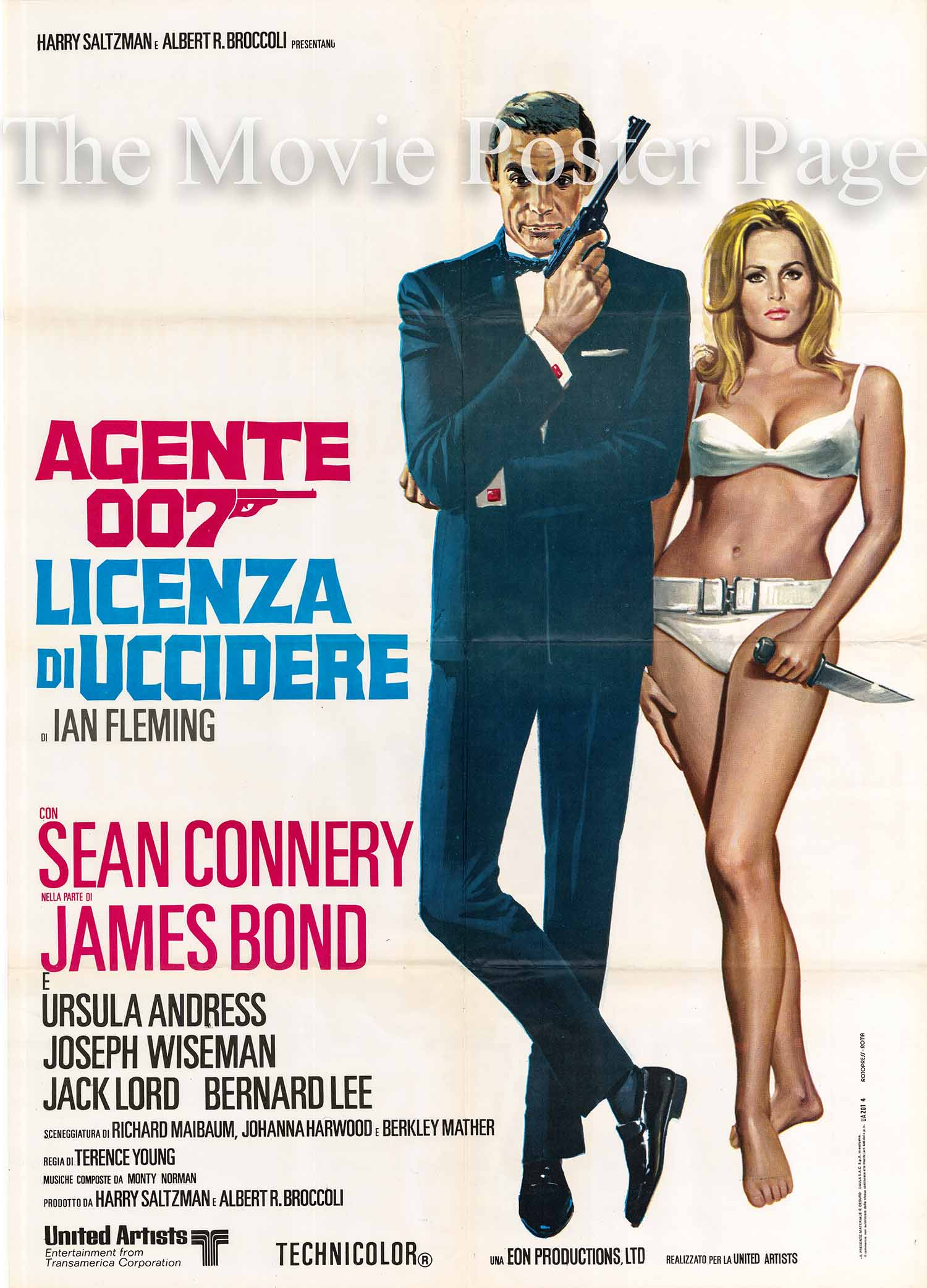 Pictured is an Italian two-sheet promotional poster for a 1971 rerelease of the 1962 Terence Young film Dr. No starring Sean Connery as James Bond.