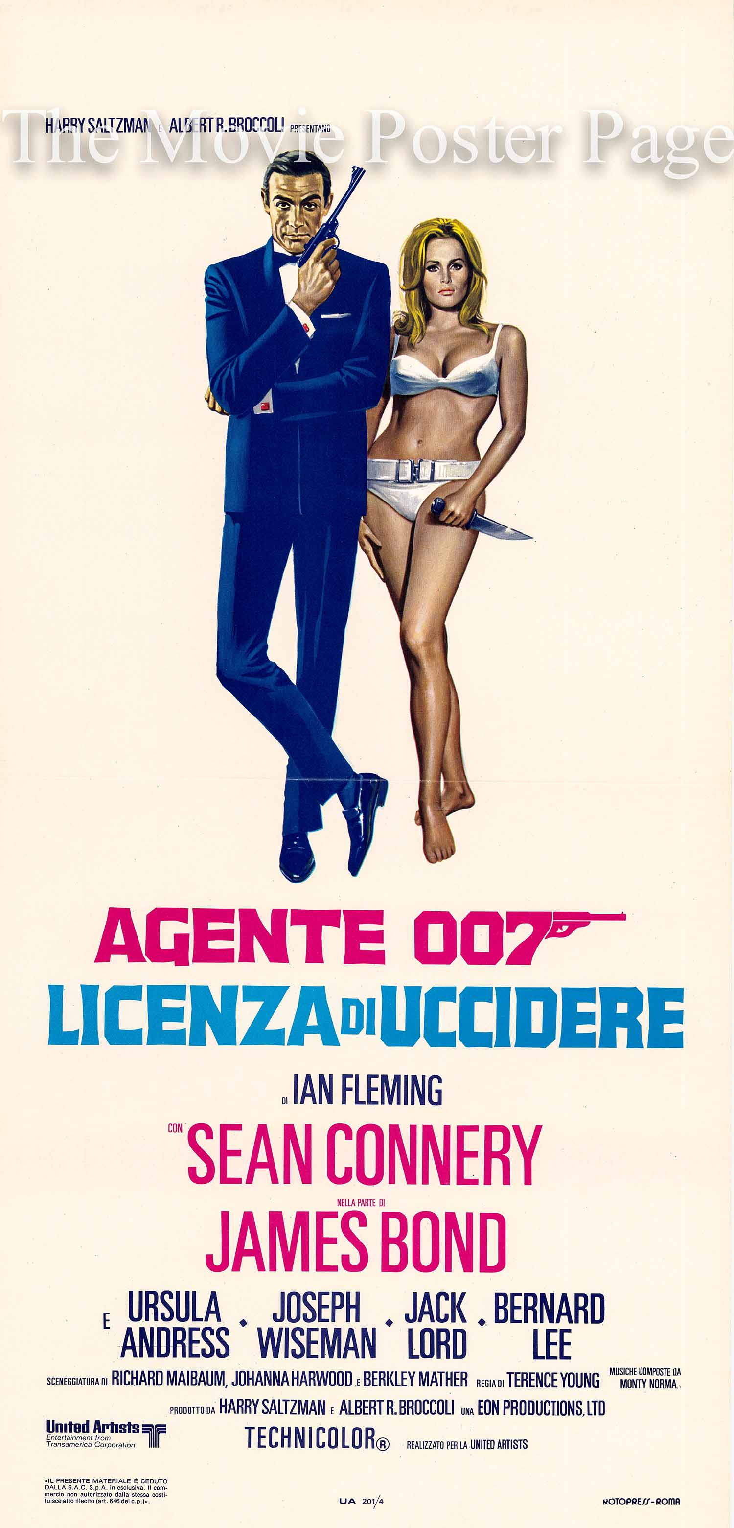 Pictured is an Italian locandina poster made to promote a 1971 rereleaes of the 1962 Terence Young film Dr. No starring sean connery as James Bond.