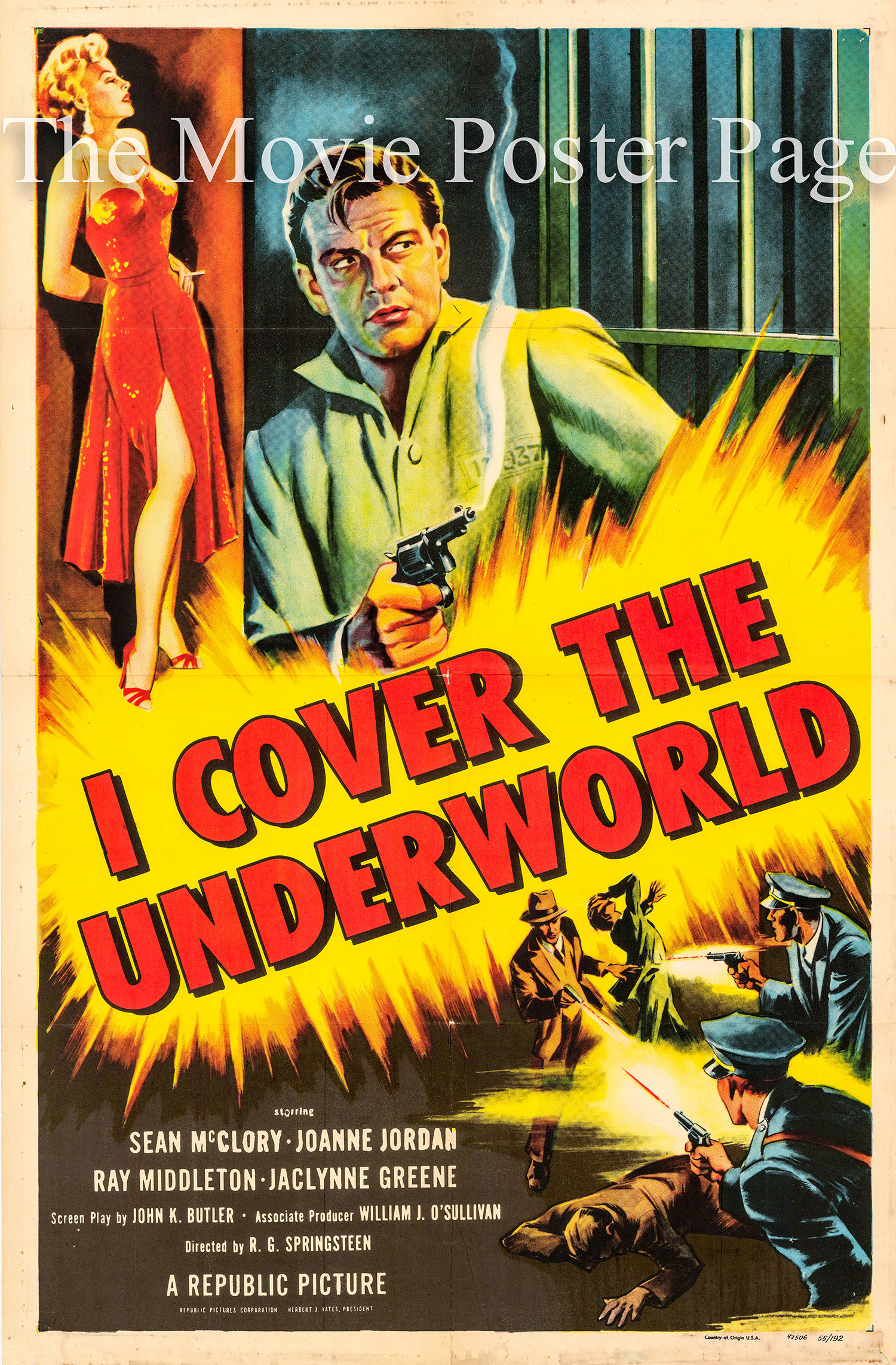 Pictured is a US one-sheet promotional poster for the 1955 R.G. Springsteen film I Cover the Underworld starring Sean McClory.