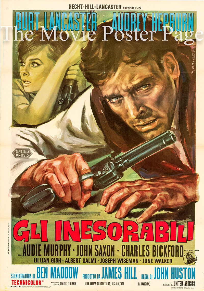 Pictured is an Italian two-sheet poster for the 1960 John Huston film The Unforgiven starring Audrey Hepburn as Rachel Zachary.