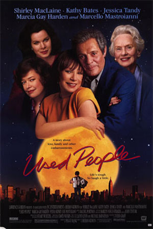 Pictured is a US promotional one-sheet poster for the 1992 Beeban Kidron film Used people starring Shirley MacLaine.
